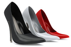 Three woman's shoes Royalty Free Stock Image