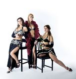 Three woman in tango costume Stock Photo