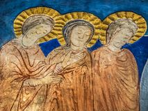 Three woman at the tomb of Jesus on Easter Sunday Royalty Free Stock Image