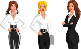 Three women. In the theme of women's day, a fashion designer, secretary and a businessowman Royalty Free Stock Photos