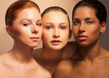 Three women beauty portrait Royalty Free Stock Photos