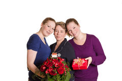 Three women birthday present bouquet Stock Images