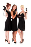 Three women black firearms Royalty Free Stock Photos