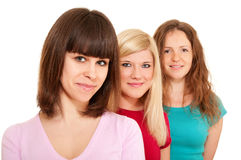Three women brunette, blonde Royalty Free Stock Photos
