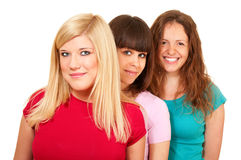 Three women brunette, blonde Royalty Free Stock Photography