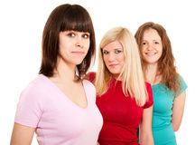 Three women brunette, blonde Royalty Free Stock Images