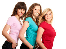 Three women brunette, blonde Royalty Free Stock Photo