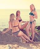 Three women chatting on sandy beach royalty free stock photography