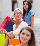 Three Women in City Royalty Free Stock Photos