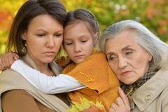 Three women close up. Mother, grandmother and child Stock Photography