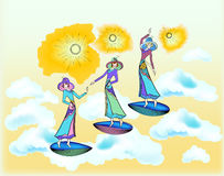 Three women are dancing. Royalty Free Stock Images