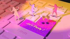 Three women dancing on a white keyboard Stock Photos