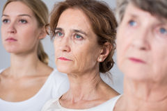 Three women in different age Stock Photos