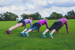 Three women doing push ups in park Royalty Free Stock Photo