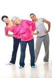 Three women doing sport Stock Photo