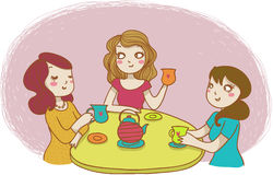 Three women drinking tea vector illustration