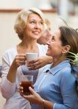 Three women drinking tea at balcony Stock Image