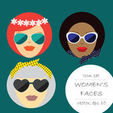 Three women are European, Asian, African American. Vector. Illustration in a flat design.Label, badge girl silhouette. Vector illustration of a girl head in Royalty Free Stock Image