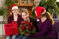 Three women gifts christmas fun Stock Image