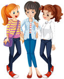 Three women hanging out together. Illustration Royalty Free Stock Photo