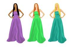 Three women illustration. Vector illustration of a three women dress Stock Photography