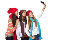 Three women making selfie Royalty Free Stock Photos