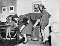 Three women playing around royalty free stock images