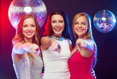 Three women pointing at you Royalty Free Stock Photography