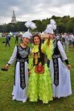 Three Women Pose For Mobile Selfie Photo In Moscow. Royalty Free Stock Image