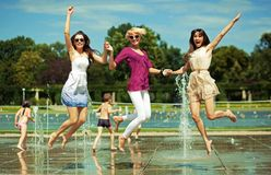 Three women relaxing Royalty Free Stock Images