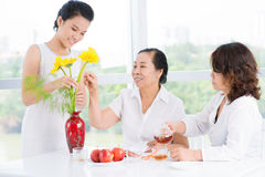 Three women in the room Royalty Free Stock Images