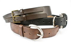 Three women's leather belts Royalty Free Stock Photos