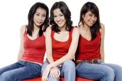 Three Women Sitting Royalty Free Stock Images