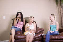 Three Women Socializing at Home Stock Photography