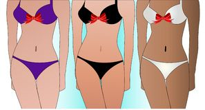 Three women strutting in bathing suits  Stock Photos