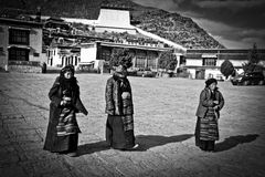 Three women in Tashilompu Monastery Shigaste Tibet Royalty Free Stock Photography