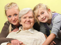 Three women - three generations. Stock Photos