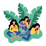 Three women use a smartphone. Vector illustration vector illustration