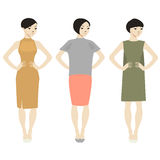 Three women. Vector illustration with three women Stock Photo