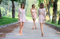 Three women walking on the summer park Royalty Free Stock Photography