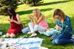 Three woman in summer green park looking in their smartphones stock photography