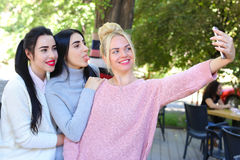 Three wonderful young girl girlfriends make selfie, photo on pho royalty free stock image