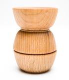 Three Wood Bowls Royalty Free Stock Photography