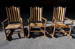 Three wood chairs Stock Photo