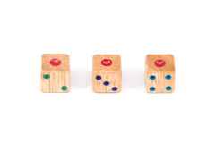 Three wood dice show one point face Stock Photo