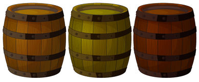 Three wooden barrels Stock Images