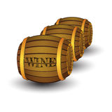 Three wooden barrels with label `Wine` vector illustration
