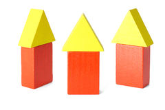 Three wooden block houses Royalty Free Stock Images