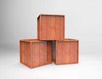 Three wooden blocks cube Royalty Free Stock Image