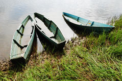Three wooden boats Royalty Free Stock Images